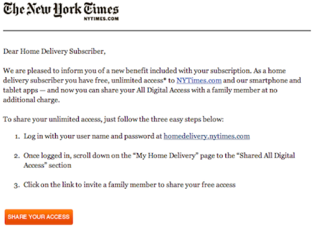 New York Times Shared Digital Access Tries a +1 Feature of Its Own