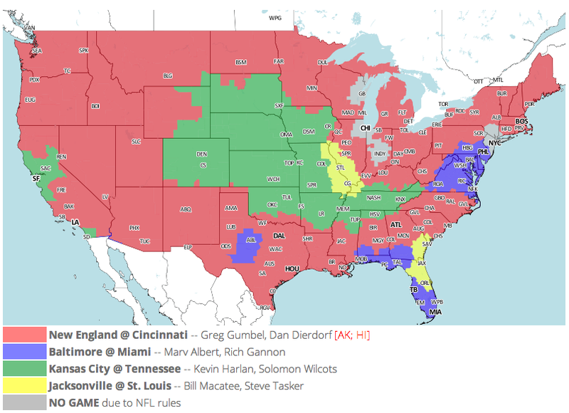 Which TV Market's Getting Screwed Today? Your Week 5 NFL Viewing Maps