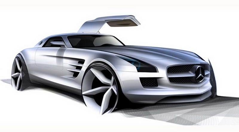 Mercedes SLS AMG Gullwing: First Sketches And Interior Photos