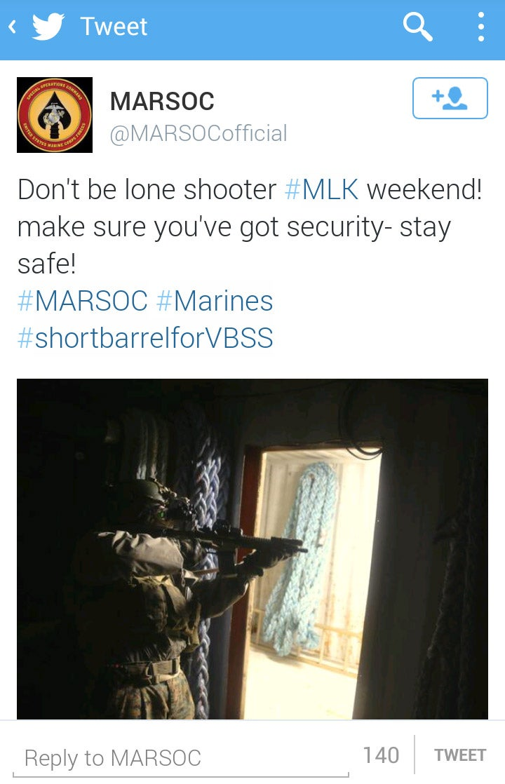 "Marines' Twitter: Don't Be a ""Lone Shooter"" on MLK Day, Bring a Buddy"