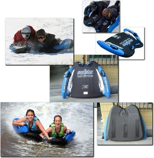 Dual Purpose Surfster Double Black Great For Sledding Down Hills and Into the Hospital