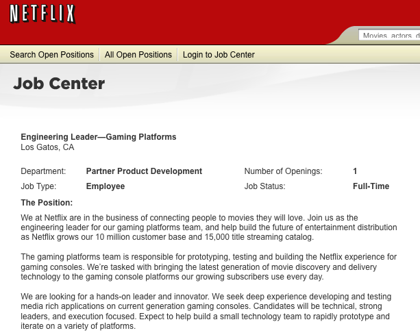 Netflix Job Posting Hints At Expansion To PS3 and Wii