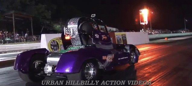 Electric Golf Cart Drag Racer Flips Immediately