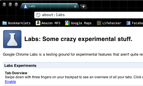 Chrome's About:Labs Page Lists Experimental Features for Dev Build Users