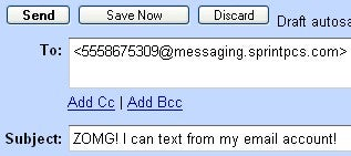 Send Text Messages From Your Email Account