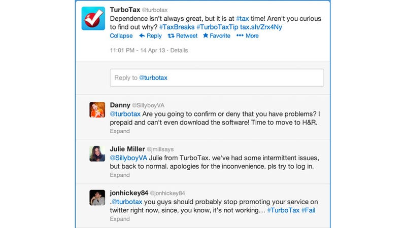 TurboTax Went Down At a Kind of Crucial Moment and Didn't Handle It Well on Twitter