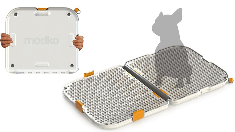 This Sleek Briefcase Hides an Easy To Clean Portable Pet Potty