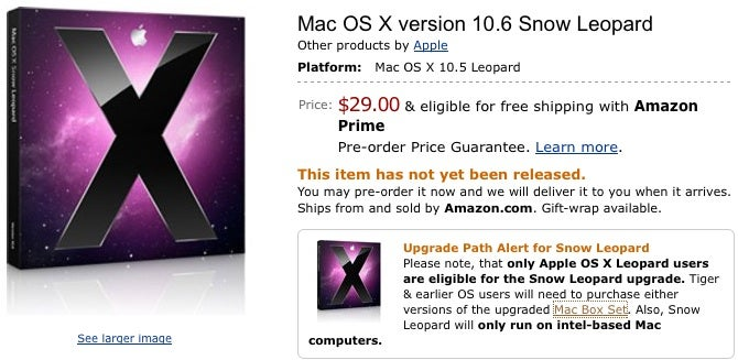 Mac OS X 10.6, a.k.a. Snow Leopard, Available for Pre-Order