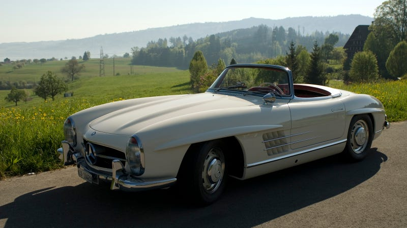 A Mercedes 300SL Roadster In The Swiss Alps