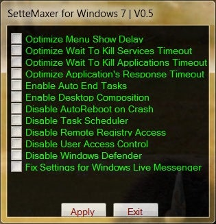 SetteMaxer Tweaks a Handful of Windows 7's Settings