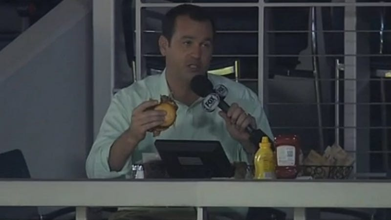 Braves TV Reporter Gets Busted Taking A Bite Of His Tasty Burger, Doesn't Skip A Beat