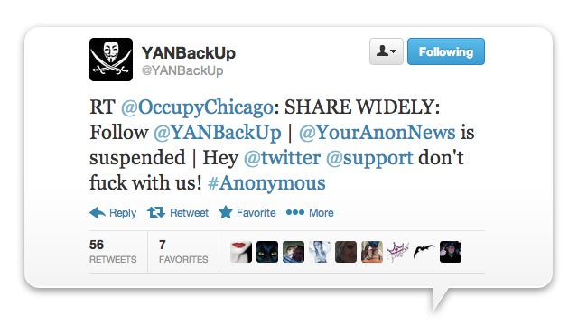 Twitter Kills Anonymous' (Semi) Official Account (Update: Back Online)