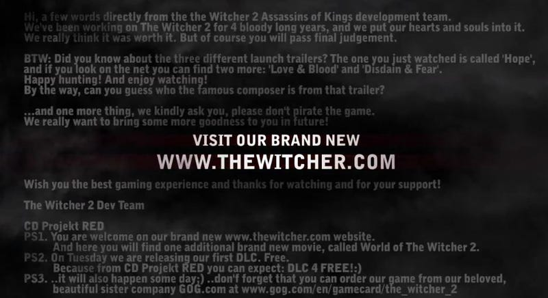 Here Are All of The Witcher 2's Launch Videos, and a Special Message