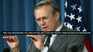 Remember When Donald Rumsfeld Stood Up for Rioting and Looting?