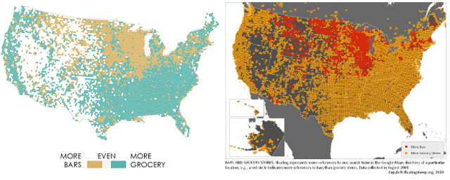 Maps of Where Bars Outnumber Grocery Stores