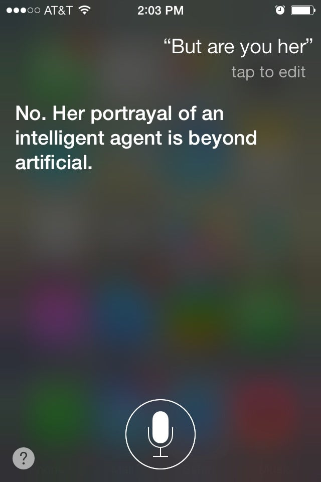 Siri Is Not Down with the Movie Her