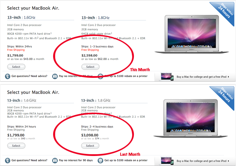 MacBook Air With Solid State Drive Gets $500 Price Cut