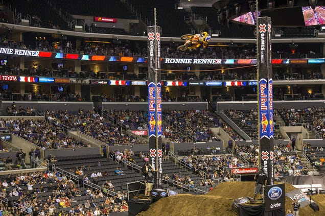 of a 34-foot-high jump on X Games Motocross High Jump