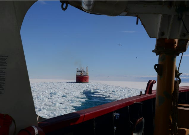 A Mammoth Ice Breaker Frees a Ship Trapped In the Frozen Ocean