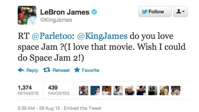 Uh, Lebron James wants to star in Space Jam 2