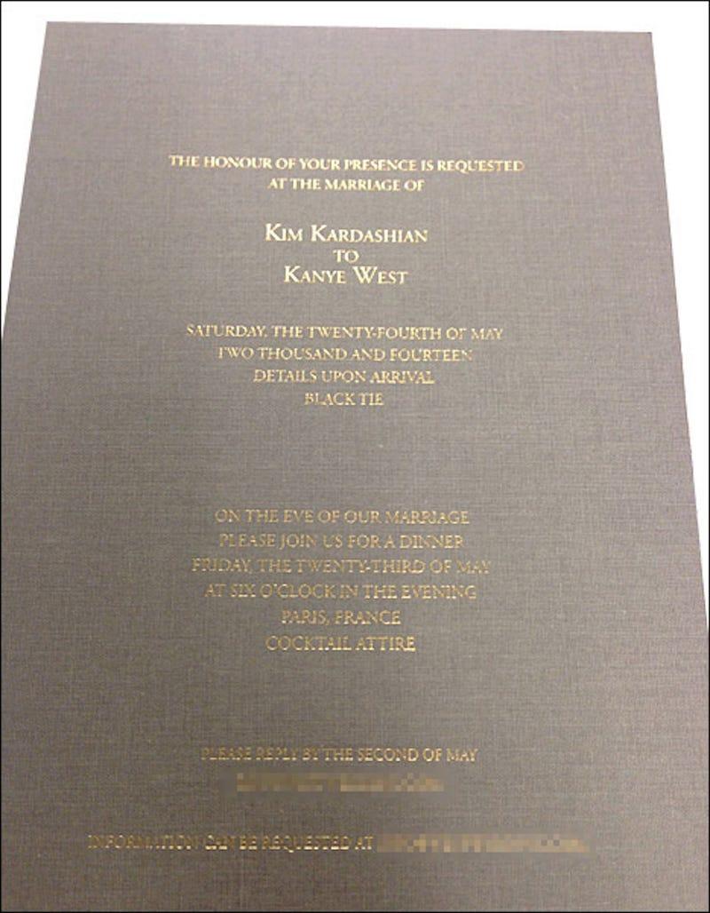 Leaked Kimye Wedding Invite Uses the British English Spelling of Honor