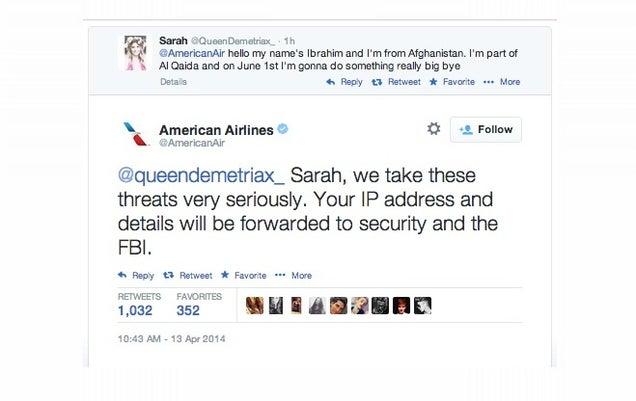 Detenida la chica que amenazó en broma en Twitter a American Airlines