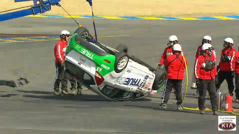 Pirelli World Challenge Fiesta flips at Sonoma hairpin