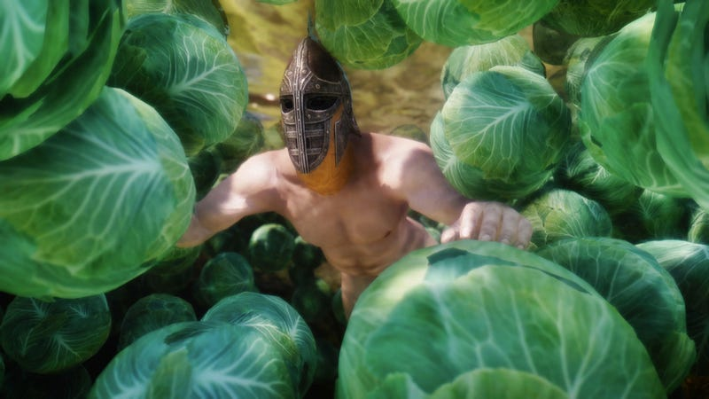 The Magic of Skyrim Mods: A Naked Man Swimming in Cabbage