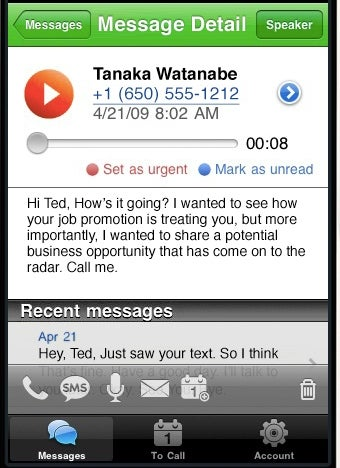 Ribbit App Delivers Voicemail Transcripts to Your iPhone