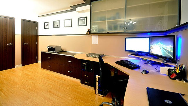 A spacious and elegant basement workspace for Office space basement