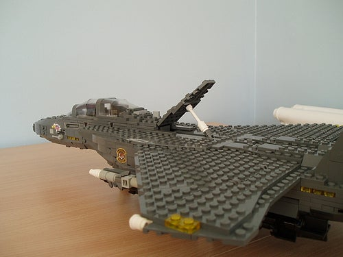 Giant LEGO B-1B Bomber Escorted by Fighters, Hawkeye Aircraft