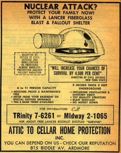 Back in the day, you could buy a fallout shelter in the Yellow Pages