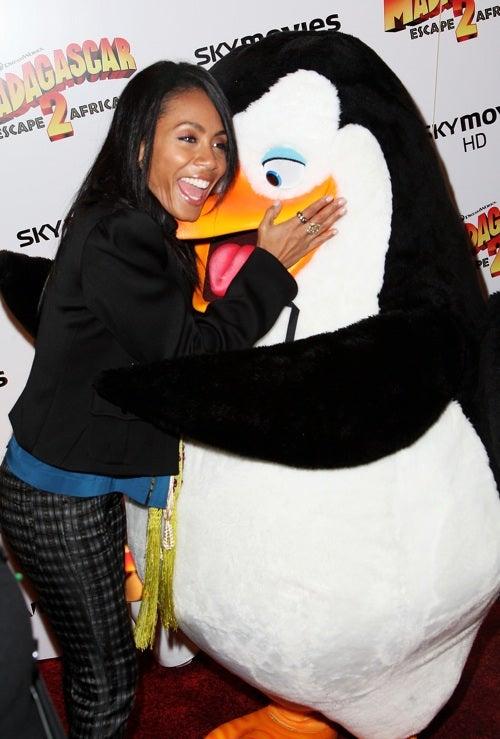 A Penguin Sneaks A Peek At Jada Pinkett Smith