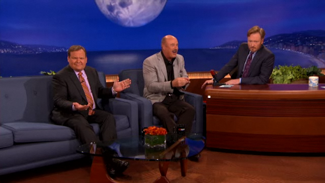 Dr. Phil Takes His Crazy Talk of Cheating Fingers to Conan