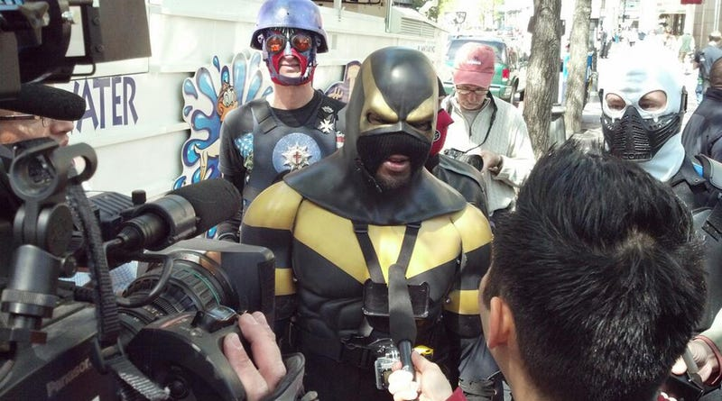 Superheroes, Clowns, Racists Clash at May Day Protests