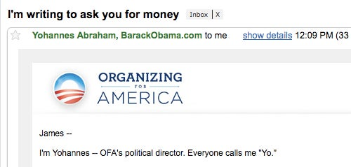 Barack Obama's Political Group Gets Mighty Pushy in Fundraising Plea