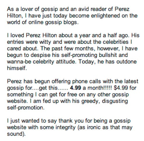 Readers Outraged At Perez Hilton's Phone-Call Scheme