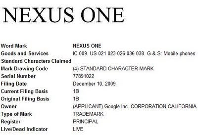 "Google Applied for ""Nexus One"" Trademark"