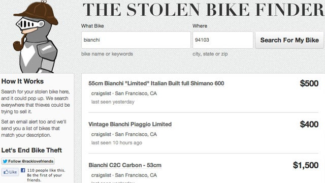 Racklove Helps You Find Your Stolen Bike (and Also Buy and Sell Bikes)