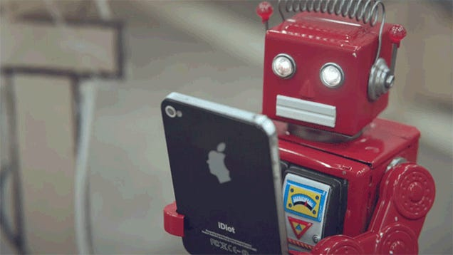 Watch toy robots hilariously poke fun at our smartphone addiction