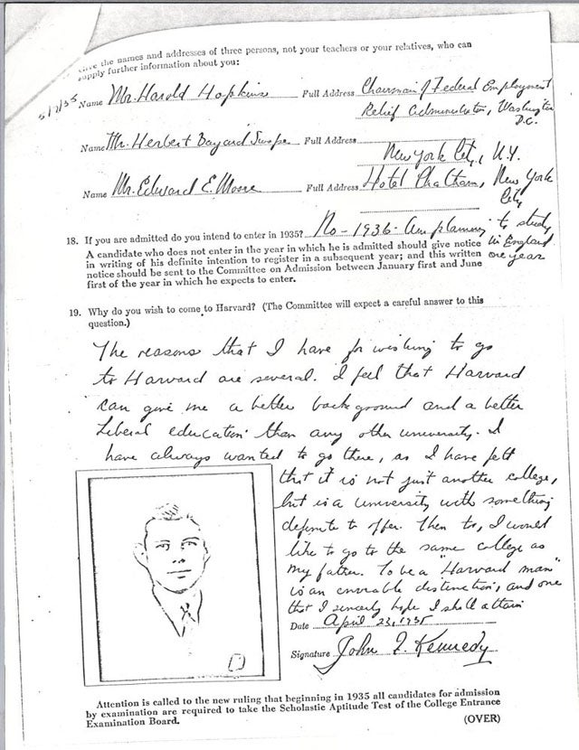 JFK's Unimpressive Harvard Application - gallery