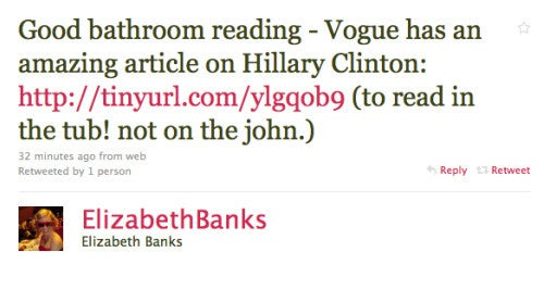 Elizabeth Banks Doesn't Read Vogue On The Toilet