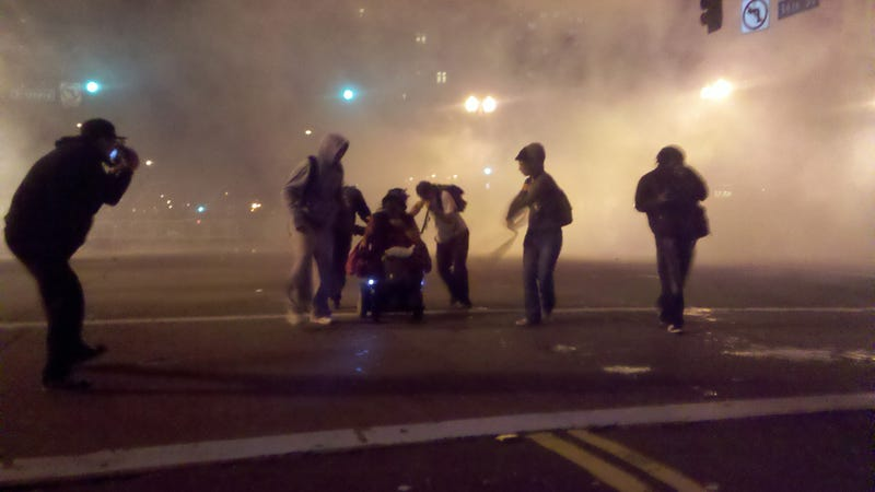 Watch Oakland Police Fire Tear Gas on Protesters