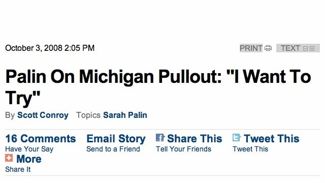 This 2008 CBS News Sarah Palin Campaign Headline Now Has A Whole New Meaning, Doesn't It?