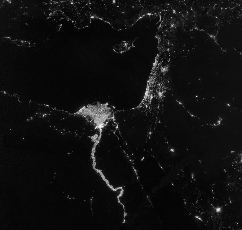 What do these nighttime satellite photos reveal about civilization?