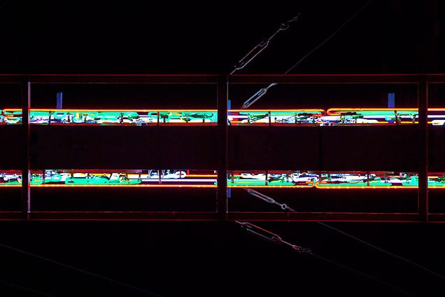 Huge Neon Signs Photographed From Below Become Futuristic Abstractions