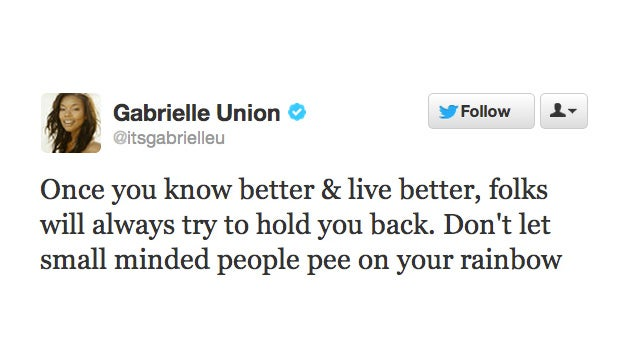 Gabrielle Union Refuses to Let Small Minded People Pee on her Rainbow