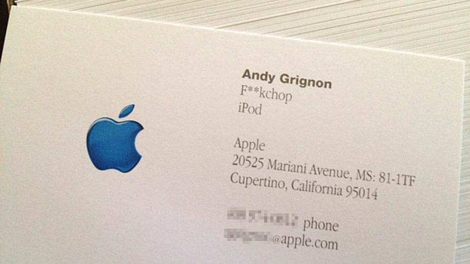 How steve jobs caused the funniest and weirdest apple for Business card software mac