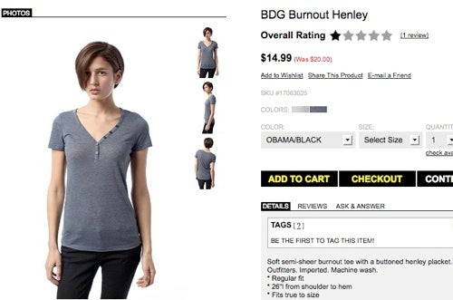 "Urban Outfitters Sells Shirt In Color Called ""Obama/Black"""