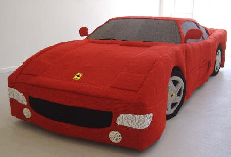 Knitted 1:1 Scale Ferrari Makes Perfect Xmas Stocking